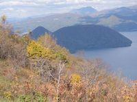 洞爺湖湖畔に浮かぶ中島の風景