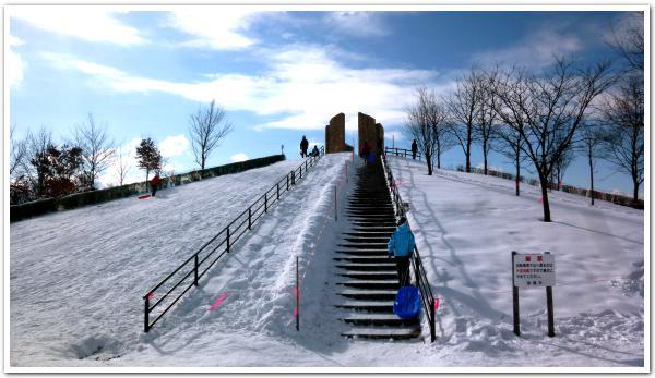 最強の寒気に負けず 函館昭和公園でソリ遊び!