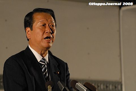 「よっ、総理!」民主・小沢代表大通一万人集会にあらわる