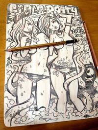 イラスト・woodboard ギリギリガール二人ギリギリ
