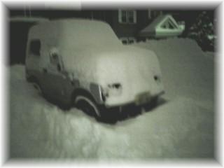 ジムニー君、雪まみれ