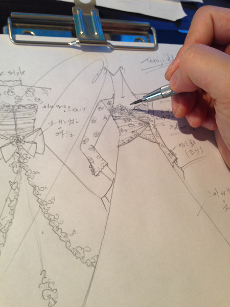 オーダーメイドウェディングドレス デザイン画 札幌