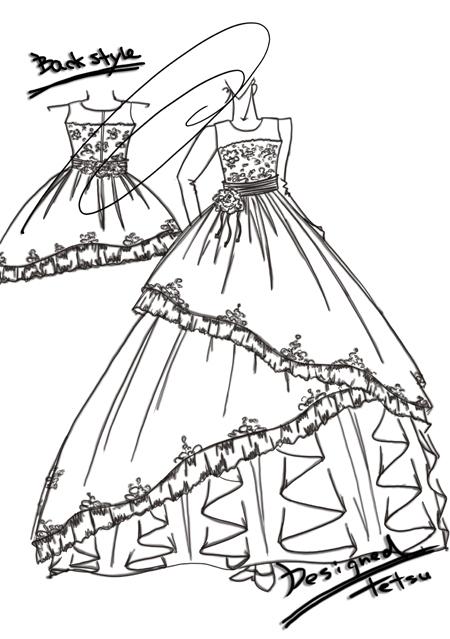 子供用 ピアノの発表会ドレス デザイン画