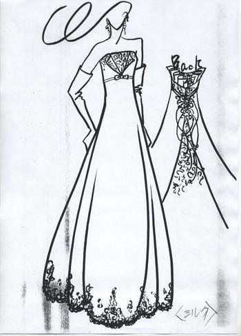 デザイン画 エンパイアドレス 札幌の花嫁様