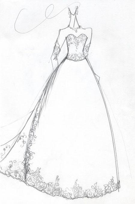 ウエディングドレスの仮縫いデザイン画