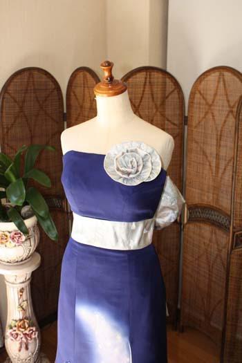 着物と帯を使用したカクテルドレス