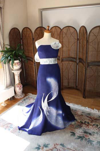 留袖をリメイクして花嫁のウェディングドレスに
