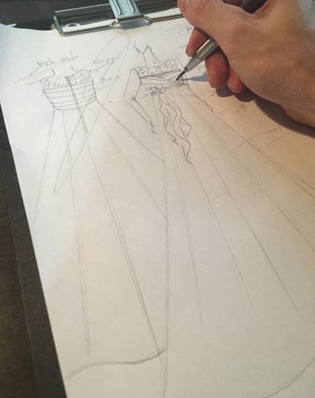 ピアノのコンクールドレス デザイン画