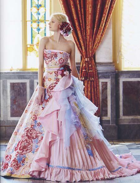 ウェディングドレス カラー 着物ドレス