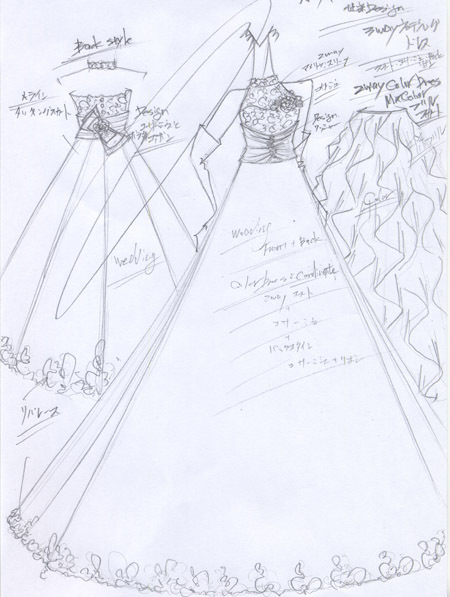 ウェディングドレス 花嫁ドレス デザイン画