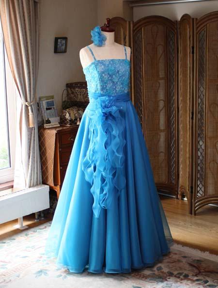 フレアAライン ロングドレス ターコイズブルー