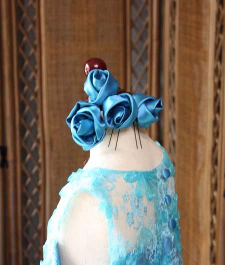 ヘッドドレス コサージュ ブルー