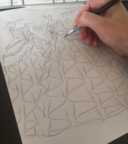 ピアノの発表会ドレス オーダーメイドドレスのデザイン画