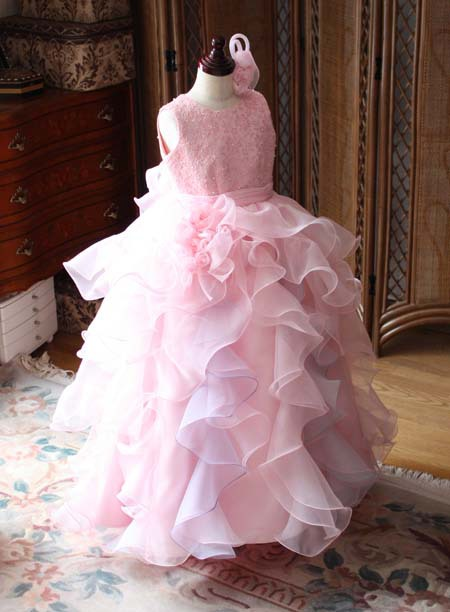 ピアノの発表会ドレス ピンクカラー オーダーメイド 札幌のお客様ドレス