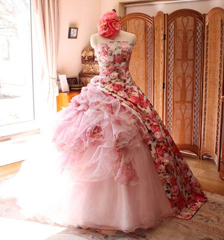 カクテルドレス ライトピンク プリント柄ドレス