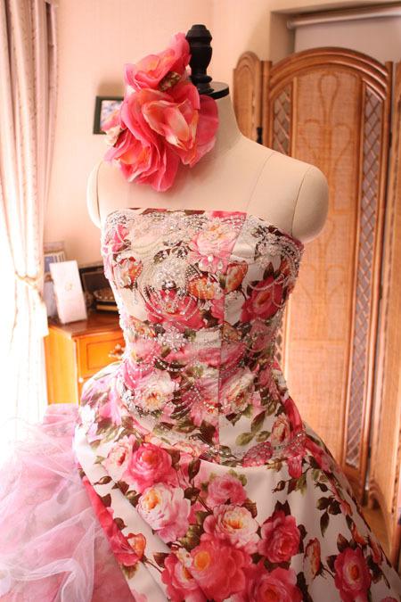 カクテルドレス プリント柄ドレス ピンク