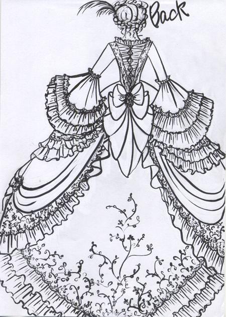マリー アントワネット調のアンティーク ウェディングドレス