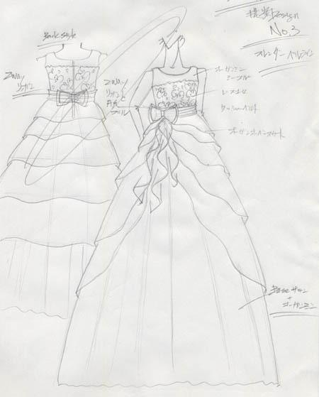 デザイン画 子供用発表会ドレス オーダー
