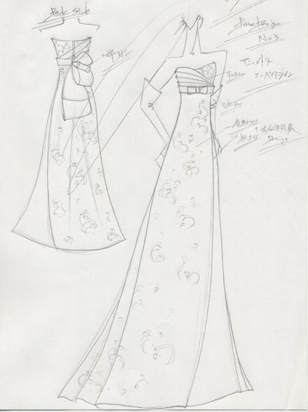 着物を使用したウェディングドレスのデザイン画