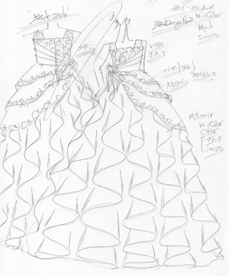 ピアノの演奏会ドレスのデザイン画