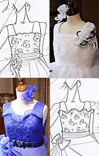 肩付きの子供ドレスデザイン