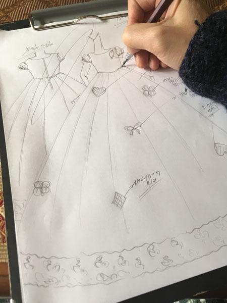 ドレス製作 子供用ドレスデザイン。