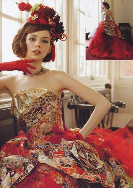 レッドのカラードレス 着物カクテルドレス