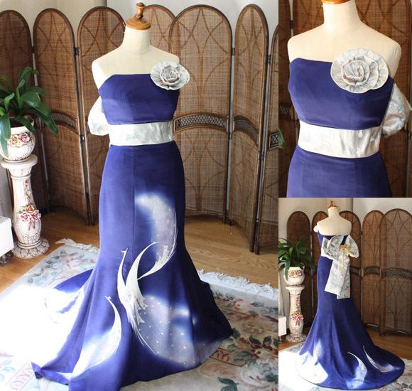 着物をリメイクした結婚式用のお色直しカラードレス