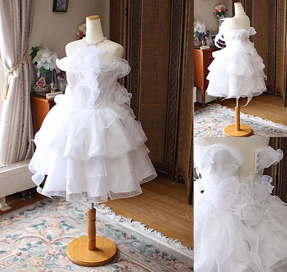 ミニ丈スカート ウェディングドレス リメイク
