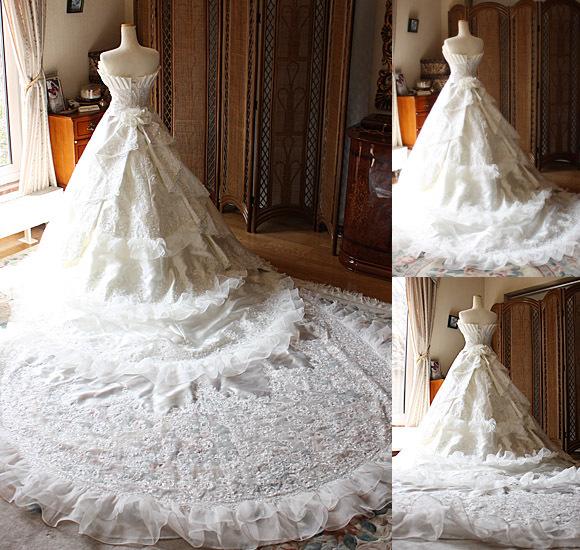 海外ウェディング用ドレス ロングトレーン