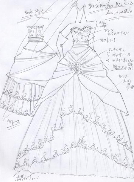 札幌の花嫁様,ウェディングドレスのデザイン。