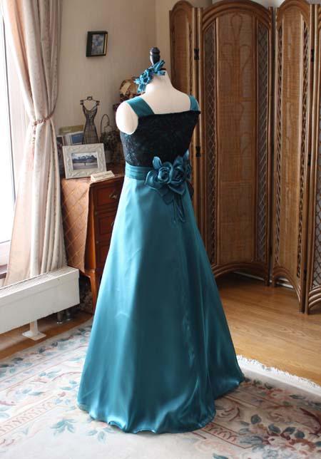ピアノのコンクールドレス アンティーク グリーンの中学生ドレス