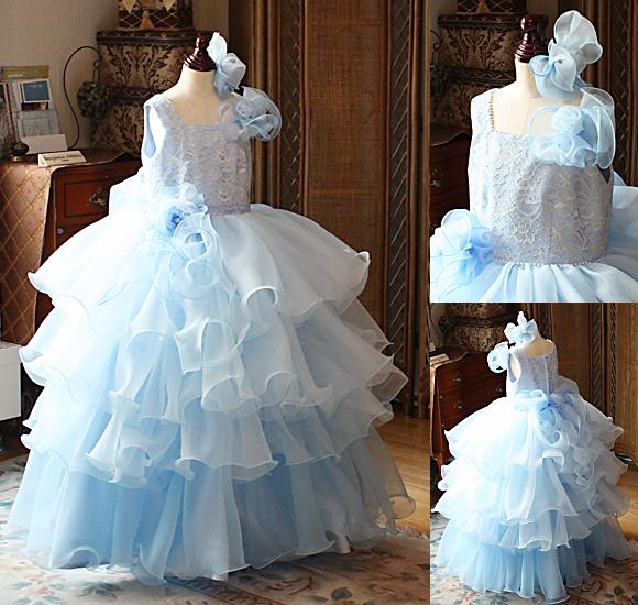 ピアノやバイオリンの子供用ドレス ライトブルー