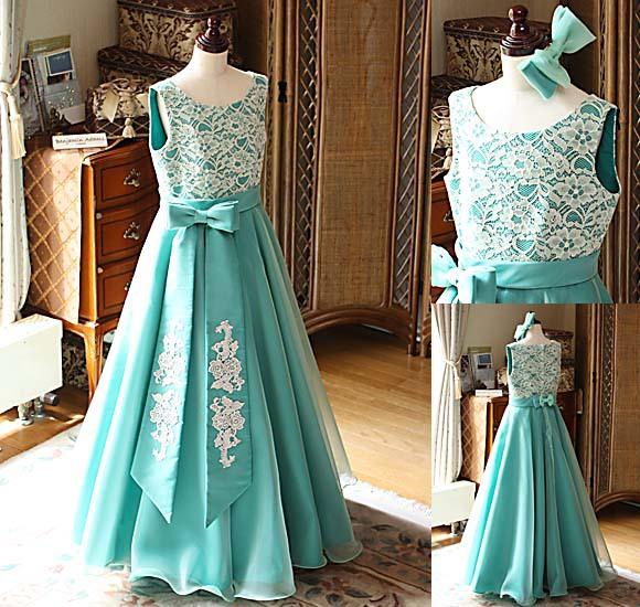 ピアノの受賞者コンサート用ドレス エメラルドグリーンドレス