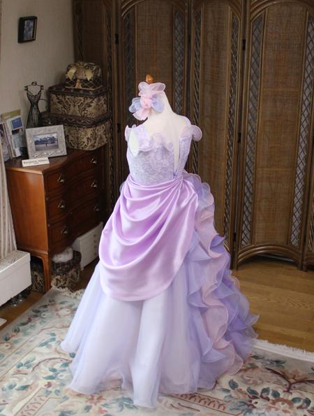 ピノのコンチェルトドレス 左右非対称デザイン パープル