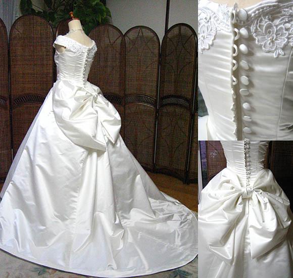 シルク ウェディングドレス バッスル バックスタイル