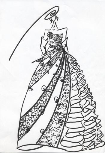 お色直しカクテルドレス。花嫁様にデザインをさせて頂いたカクテルドレス