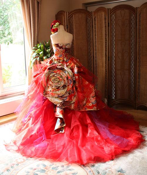 カラードレス 着物 レッド