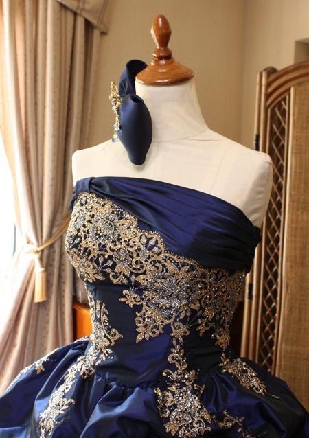 ネイビー カラードレス