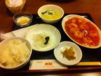 レストラン太郎のエビのチリソースがけ定食