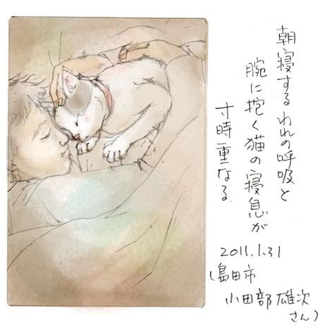 猫の寝息が
