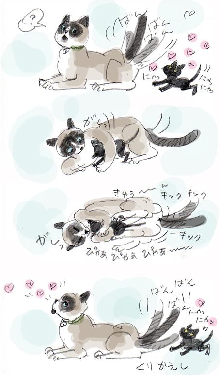 子守り名人(名猫)