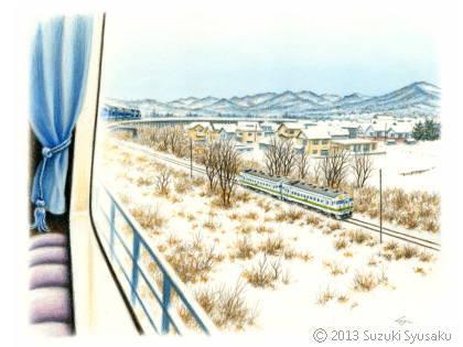【水彩色鉛筆画】北斗星、札幌市電等5点Up