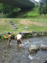 プールへ川へ。