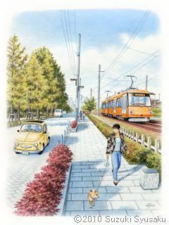 【水彩色鉛筆画】えちぜん鉄道・東急世田谷線等10点Up