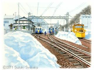 【水彩色鉛筆画】えちぜん鉄道(カレンダー掲載作等)6点Up