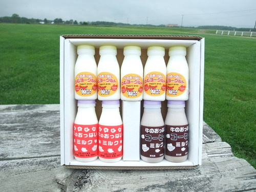 贈答用にミルクセットはいかがでしょうか。感動の牧場ミルクセットです。
